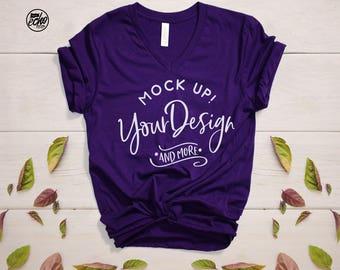 Bella Canvas V neck T-shirt Mockup-T-Shirt Mockup-Mock Up Shirt-T Shirt MockUp-Outfit Wood Background-Flat Lay Mockup-Product Photography