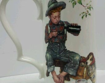 Gorham Norman Rockwell The Mysterious Malady Mug Four Seasons Series 8""