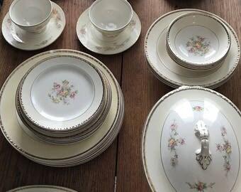 Homer Laughlin Georgian Eggshell China Set - 45 Pieces - Floral Rose Gold Trim