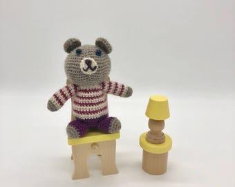 Small Crochet Teddy Bear, Amigurumi Bear, Teddy bear Plush Toy, Crocheted Bear, 100% Wool Yarn