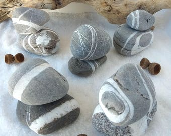 Big Striped Beach Rocks, Striped Stones, Lucky Stones, Striped Sea Stones, Aquarium Stones, DIY Stones, Set of 2 Gray Striped Beach Pebbles