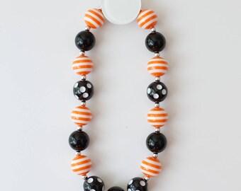 Halloween Bubblegum Necklace, Bubblegum Necklace, Orange and Black Bubblegum Necklace, Photo Shoot Necklace, Children's Necklace