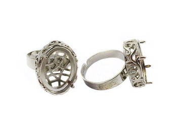 Ring set with oval cabochon 18 x 13 mm - silver