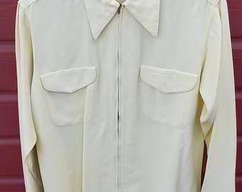 1950s Rayon/Gabardine  Men's Shirt   MEDIUM/LARGE