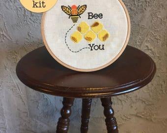 Bee cross stitch kit | modern cross stitch | beginner cross stitch | easy cross stitch | cute cross stitch | subversive cross stitch