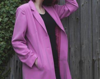 Vintage 90's hot pink long jacket - Size 16