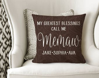 GRANDMA PILLOW - MEMAW Grandkids Name Gift - Personalized Grandmother Gift - Grandchildren Names - Christmas Gift -Pillow Cover or W Insert