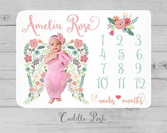 Angel Wings Milestone Blanket, Angel Wings Blanket, Floral Newborn Photography Backdrop, Month Growth Chart Quilt, Girl Shower Gift