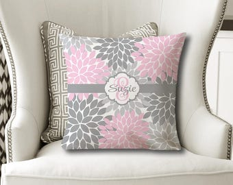 Monogram Flower Throw PILLOW, Floral Pink Gray, Flower Pillow Cover or With Insert, Pink Gray Flower Matching Bedding, Girl Name Pillow