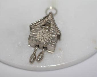 Sterling Silver Charm - Cuckoo Clock, Moving Pendulums, Little Bird, collectable, vintage charms, pendant, charm bracelet.