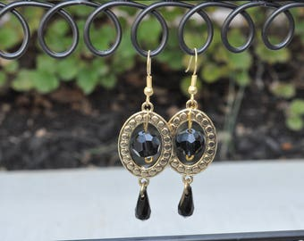 "Gold tone drop earrings with black crystals - ""Shelby"""