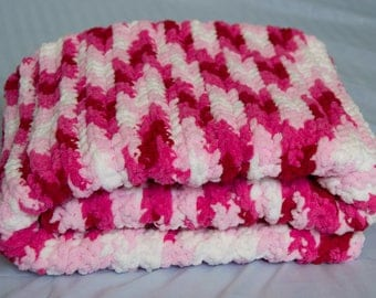 Crocheted Baby Blanket - Pink/Red/White