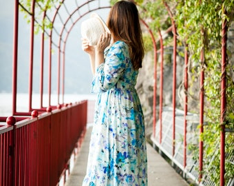 Asymmetric long sleeve cotton dress 3/4