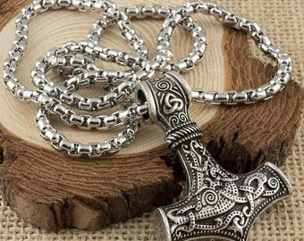Viking Necklace Thors Hammer Mjolnir Pendant With Box Chain / Norse Jewelry