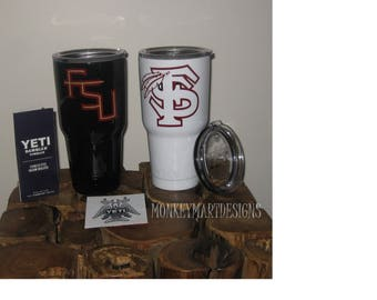 "YETI RAMBLER tumbler cup custom made ""Florida State University"" logo,SEMINOLES 30oz ,Personalized black red white"