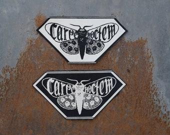 Carpe Noctem Patch; Moth Patch; huguPrints; Metal Patch; Goth patch; Punk patch; Moth; Motte; Night; screen print; Carpe Diem; Diamond shape