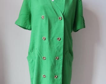 Green Vintage Dress Size 14, JAEGER Short Sleeve Long Dress, Double Breasted Buttons Silk Blend Pockets, Button Shirt Dress Blogger, B28
