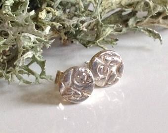 Diamond and fine silver lichen stud earrings