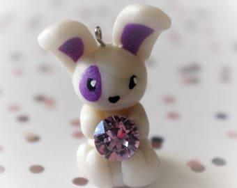 Bunny with Swarovsky Crystal polymer clay