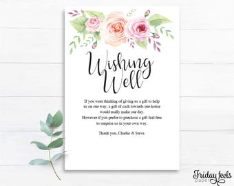 Wishing Well Wedding Card Editable Template, Bohemian Chic Wedding Template, Watercolor Floral, Instant Download PDF, W03