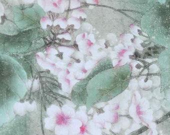 Pure Natural Silk dpc-33066 Peaceful Oriental Flowers Digital Print Pattern 6mm Pure Silk Chiffon Fabric material sheer (Yard or Meters)