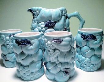Vintage Ceramic Pitcher and 4 Glasses