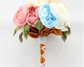 Bridal bouquet, handmade fabric flower bouquet, hand made fabric flowers, bridal bouquet, wedding bouquet, artificial flower bouquet