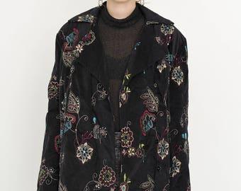 VINTAGE Black Floral Velvet Retro Jacket
