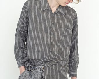 VINTAGE Grey Striped Long Sleeve Button Downs Retro Shirt