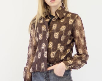 VINTAGE Brown Round Patterned Button Downs Retro Shirt
