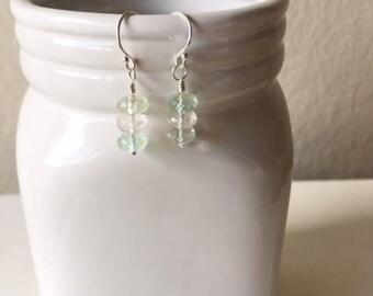Aquamarine earrings, dainty earrings, simple earrings, ,gift for her,aquamarine,birthday gift,sterling silver earrings,aquamarine rondelles
