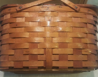Vintage 1930's Wood Splint Picnic Basket- Beautiful in Great Condition!