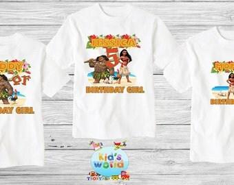 Moana birthday shirt,Custom shirt ,personalized Moana Mouse Shirt, family shirt,birthday shirt,kids custom birthday shirt d15