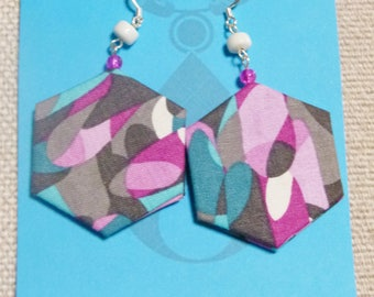 Abstract design fabric earrings in pink, white, grey, aqua and purple