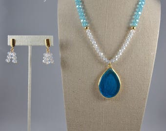 Blue and clear jewlery set - Necklace & earrings