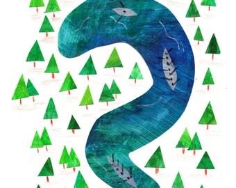 Rowing River Print