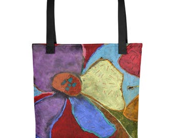 Colorful Abstract Flowers - Amazingly beautiful full color tote bag with black handle featuring children's donated artwork.