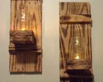 Reclaimed Burnt Wood and Mason Jar Sconces