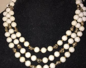 Vintage Multi Strand White Beaded Necklace with Goldtone Accents