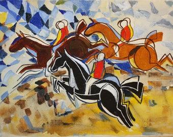 Tally HO - 30cm x 40cm painting on canvas, original art by Hurb Crustini