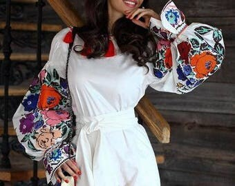 Embroidered Jumpsuit Playsuit Ukrainian Boho Vyshyvanka Custom Boho Fashion White Linen Ukrainian Embroidery Ethnic bohemian Chic nationale