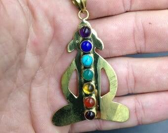 Meditation and 7 chakras brass pendant.