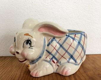 Vintage Rabbit Easter Bunny Ceramic Planter