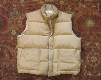Large 42 44 Tan Down Puffer Vest / Puffy, Goose Down Insulated, Made in Canada, Woods Bag & Canvas Co.