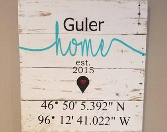 GPS Sign, Home Coordinates Sign, Coordinates Sign, Latitude, Longitude, last name sign, Housewarming Gift, Wedding Gift, Farmhouse Decor,