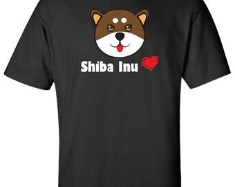 Cute Shiba inu Heart custom Graphic Logo T Shirt - Unisex