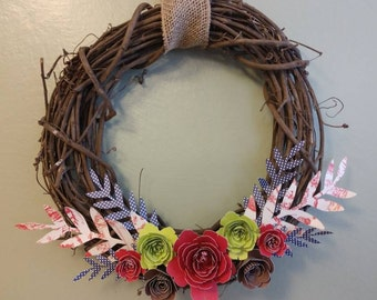 """14"""" Spring Wreath with Grapevine and Paper Flowers"""