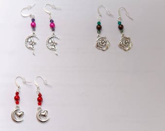 Earrings silver moons, fairies or flowers charms, nickel and lead free