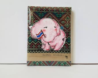 Hand painted elephant notebook journal | lined paper