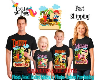 PIRATES Birthday BOY Theme Family BLACK Shirts For the Entire Family Mom Dad Brother and More T-shirts Long/ Short sleeve Raglan Pirates